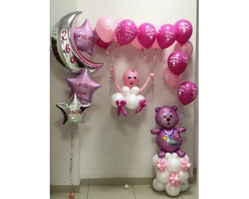 Набор из воздушных шариков на рождение доченьки №2